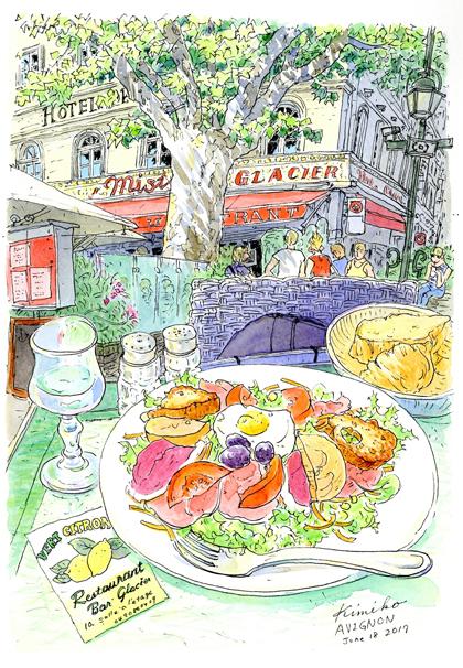 観光客で賑わう時計台広場にびっしりと並ぶレストラン。サラダをスケッチしていると、店主から住所と電話番号を書き入れてくれとリクエスト。確かに書きましたよ。