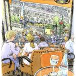 パリで過ごす半日。私なりの小さな冒険。リヨン駅の向かいのカフェでスケッチブックを広げます。隣の女の子を真似て頼んだショコラ・ショーで元気がでました。