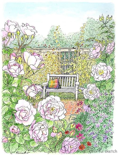 横浜のイングリッシュ ガーデンへ。美しいバラを前に友と尽きぬ話し。ピンクのバラが早く描いてと言っている。陽が沈み手元が見えなくなって終了。
