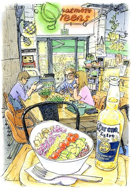 野菜をたくさん食べよう!がコンセプトのベジタブル カフェ&ベーカリー イートモアグリーンズ。「スケッチもどうぞごゆっくり」とやさしいお言葉。