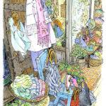 鮮やかなアフリカの籠が並び、手仕事の温もりを感じる雑貨屋さん。ドアノブに巻かれていたスカーフを、通りかかりの客が買って行ってしまった。