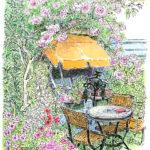 住宅街の小さなイングリッシュガーデン。満開のピエール・ド・ロンサールが花の重みで俯いている。ふと気が付くと、満席の客が居なくなっていた。