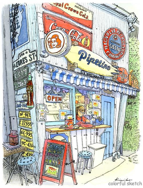 サンモールから路地に入ると食べ物の匂いが押し寄せてくる。北海道も沖縄もアジアもヨーロッパも入り混じった混沌とした飲み屋街の一角。ハワイ風の小さなスタンド。
