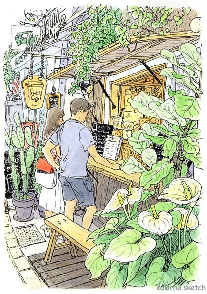 小さなスタンドコーヒー店Sunset Coffee。スケッチの合間に飲むコーヒーの美味しいこと。