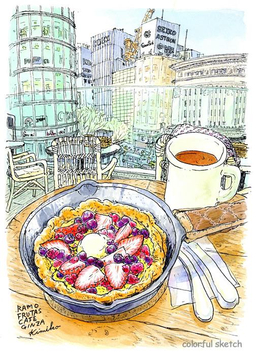 銀座プレイスの「ラモフルータスカフェ」で色鮮やかなベリーのパンケーキ。目の前は銀座4丁目の和光と三愛ビル。春の気配を感じながら。