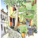 市庁舎広場から横道に折れると、一本の桐の木。黄色い壁に絡む蔦を描き始め暫くすると、赤い扉が開き人が集う場所になりました。