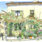 賑やかな通りからほんの少し入った、ノウゼンカズラの咲き乱れる家。二階の窓の鳥かごや小さな飾りに住む人の気配を感じて。