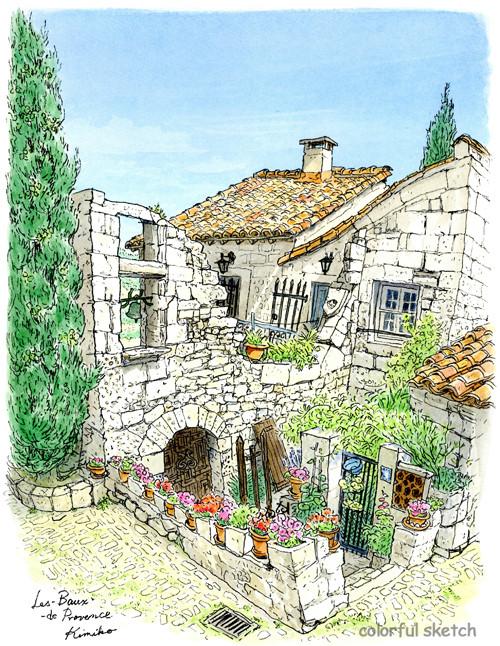 石畳の坂道の先の古い礼拝堂。真っ青な空と陽に晒され風化した石壁に、人の一生では見届けきれない時間の経過を感じて。