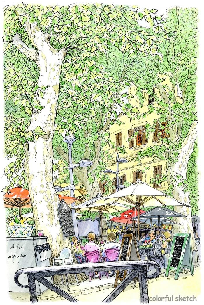 アルルの町なかの広場のカフェ。風に揺れるプラタナスの葉を描いていると、カフェの客や店の主人、通りをゆく人たちが立ち止まって声を掛けてくれました。