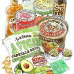 アボカドチップスやミックスナッツの袋や缶、瓶を並べてごちゃごちゃ楽しく描きました。
