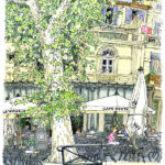 アルルでよく見かける大きなプラタナスの街路樹とカフェ。特別な名所ではないけれど何度か通るうちに描きたくなりました。